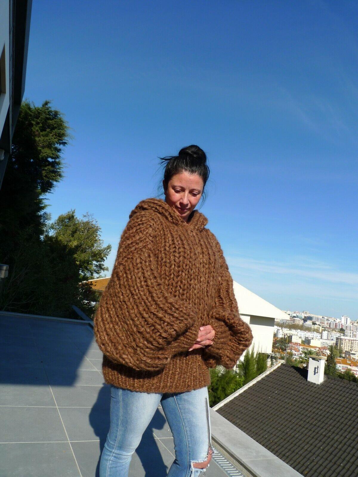 Brown Brown Brown Longhair mohair Sweater Extra Chunky  Hooded by LanaKnittings 2c712c