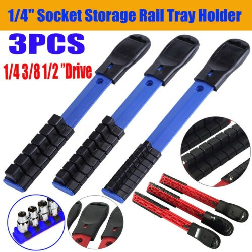 3PC 1//4 3//8 1//2 Drive Plastic Socket Tray Rail Rack Storage Holder Organizer