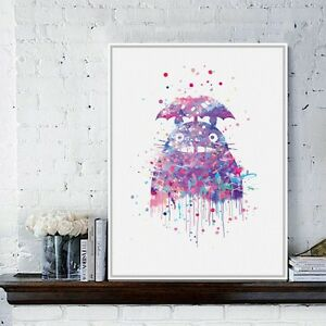 Original-Watercolor-Totoro-Modern-Japanese-Anime-Movie-Art-Print-Poster-Abstract