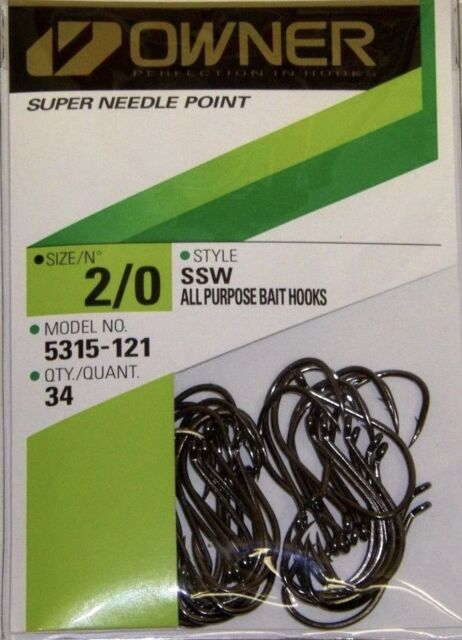 Owner Hooks SSW All Purpose Bait Black Super Needle Point 5315-121 Sz 2/ 34