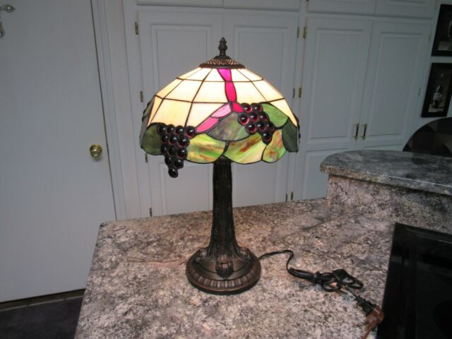 Vintage Tiffany Style Stained Leaded Glass Fruit Lamp Shade Light Grapes Ebay