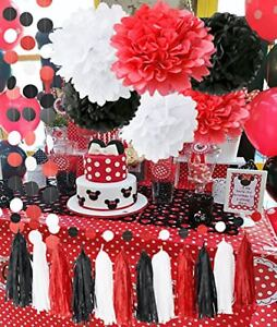 Image Is Loading Minnie Mouse Party Supplies Kit Baby Birthday Decorations