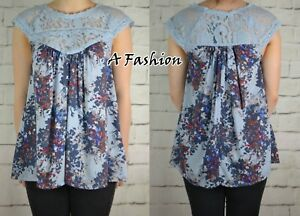 NEXT-NEW-LADIES-FLOATY-BLUE-FLORAL-LACE-TOP-BLOUSE-725