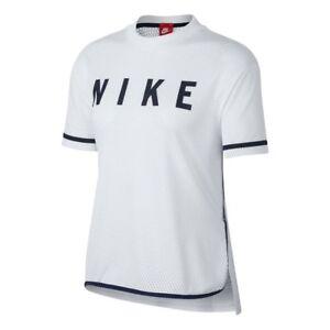 buying now low priced usa cheap sale Details zu Nike Damen NSW Netz T-Shirt Damen Neu Weiß-marine T-Shirt  893673-100
