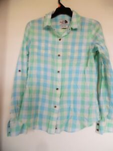 The-North-Face-Womens-Blue-Green-Plaid-Button-Down-Shirt-Size-Small