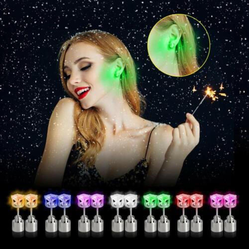1Pair Men Women Light Up LED Earrings Ear Studs XMAS Dance Party Club Decoration