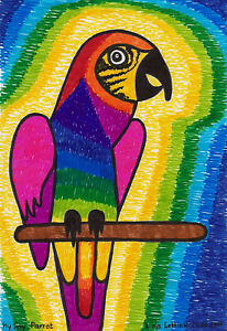 Postkarte-Kunstdruck-Loys-Lettink-signiert-034-My-Gay-Parrot-034-Insider-Art-Brut