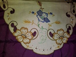 """Faithful Beautiful Color Embroidered And Cutwork Madeira Linen Runner 27"""" By 13"""" Reputation First Linens & Textiles (pre-1930) Collectibles"""