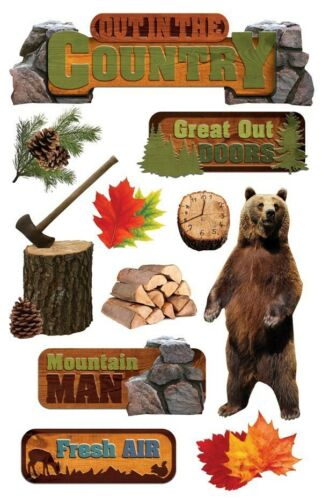 bear outdoors Paper House OUT IN THE COUNTRY 3D Stickers STDM-0183 Brand NEW