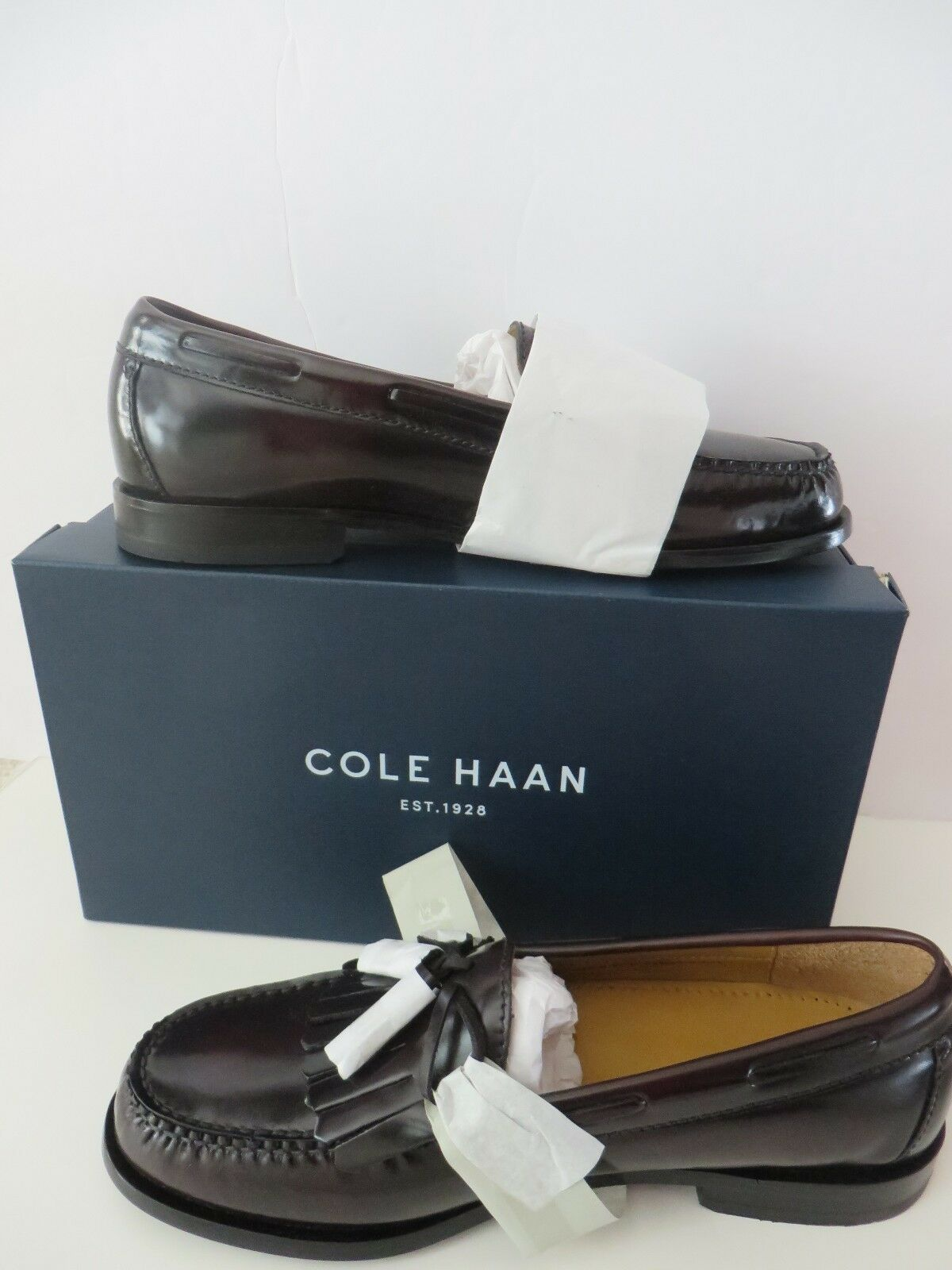 Cole Haan Pinch Shawl Bow II Leather Slip On Loafers shoes. Burgundy Size 8  NIB