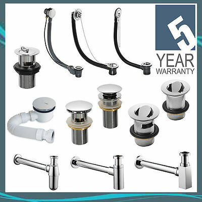 Pura CB100 Chrome Slotted Basin Waste with Press Top Clicker Plug WST4011