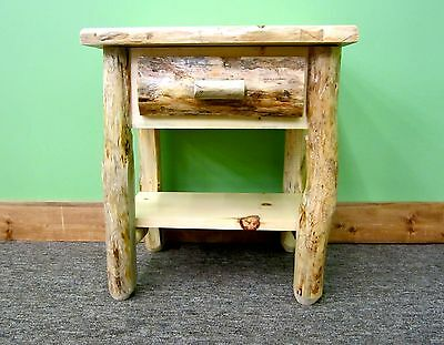 Awesome Rustic Log Nightstand W Shelf 299 Free Shipping Dovetail Drawer 740016351696 Ebay Ibusinesslaw Wood Chair Design Ideas Ibusinesslaworg