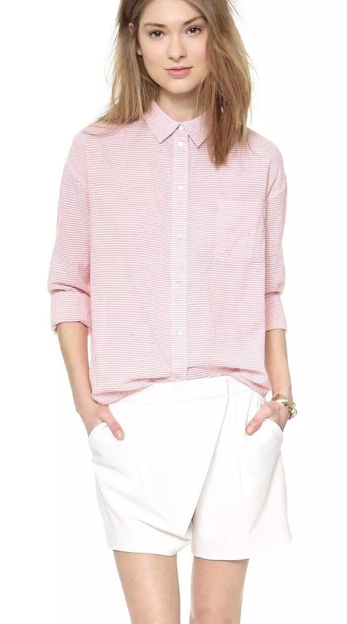 Elizabeth and james Stripe Cotton Pink Blouse Shirts XS