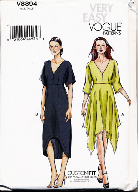 Vogue Sewing Pattern 8894 Misses Sz 16 26 Handkerchief Hem Dress In