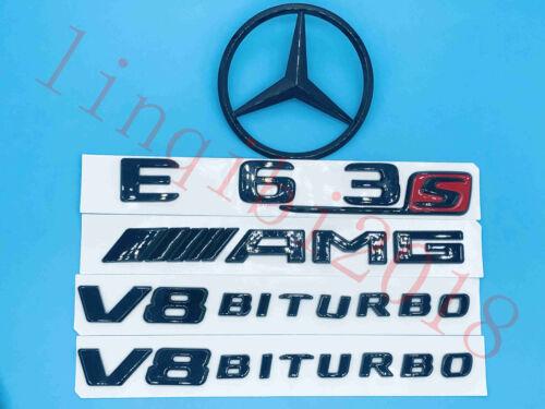 Gloss Black E63S Trunk Logo Sticker Decal Emblem Badge Package for W212 E Class