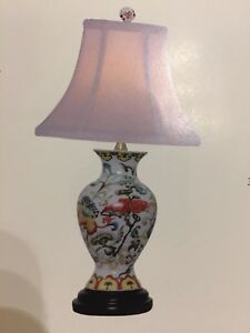 Image Is Loading Colorful Oriental Table Lamp  Asian Japanese Painting Porcelain