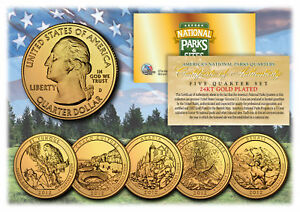 2012-America-The-Beautiful-24K-GOLD-PLATED-Quarters-Parks-5-Coin-Set-w-Capsules