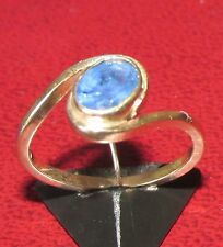STUNNING SECONDHAND 9CT YELLOW GOLD OVAL SAPPHIRE RING SIZE M