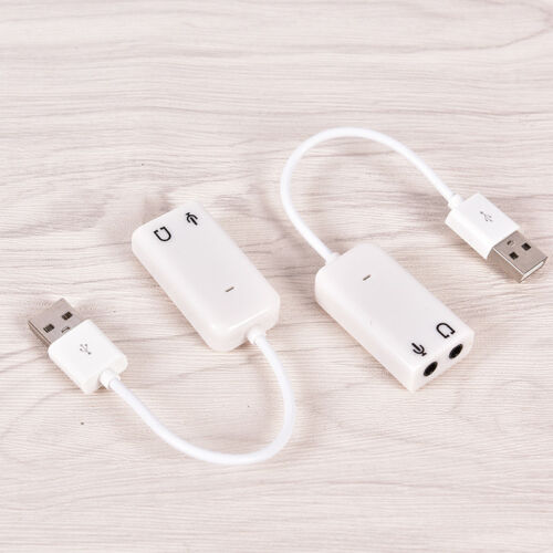USB Sound Adapter to 3.5mm Mini Jack Audio /& Microphone Mic for Skype PC Laptcb