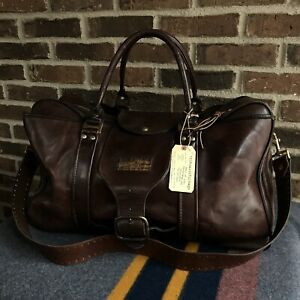 RARE-VINTAGE-1970s-BROWN-THICK-SADDLE-LEATHER-DUFFEL-BAG-w-METAL-ZIPPERS-R-1598