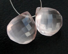 Eye Clean Natural Rose Quartz Faceted Heart Briolette Beads Matched Pair 8mm.