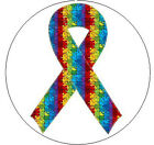 "PUZZLE RIBBON Autism Awareness - 1"" Round Stickers"