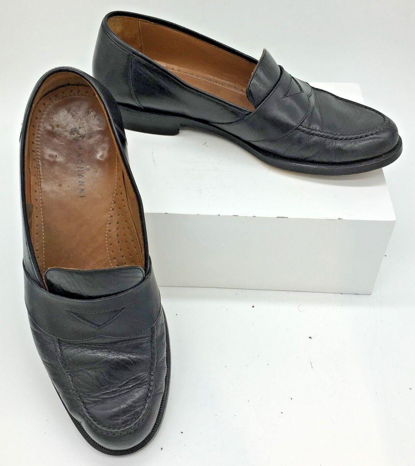 Magnanni 9340 Soft Black Leather Moc Toe Dress Penny Loafer Men's US 9.5M