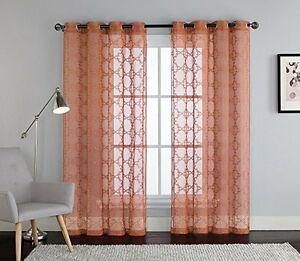 Image Is Loading Cinnamon E Embroidered Sheer Window Curtain Panel Grommets