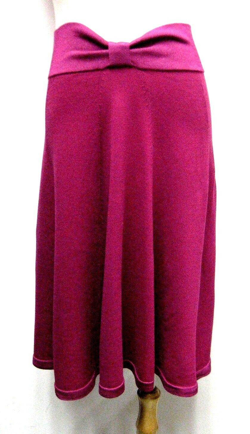 New KENZO Knitted Silk Cotton Flare A Line Skirt in Fuchsia, size S,