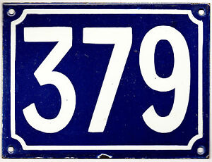 Large old blue French house number 379 door gate plate plaque enamel metal sign