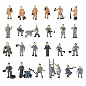 25pcs-1-87-Figurines-Painted-Figures-Miniatures-of-Railway-Workers-with-Buc-I8P0