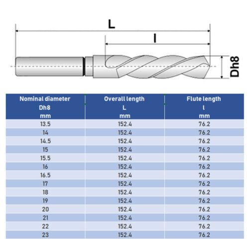 1//2 HSS M2 Bohrer Reduzierter Schaft HHS-G Spiralbohrer Metall Kunststoff Holz