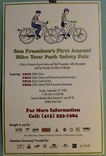 San Francisco's 1st Annual BIKE YR PARK SAFETY FAIR poster 1998 Golden Gate Park