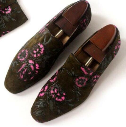 New Men Floral printed Loafer Moccasins Driving shoes Genuine suede leather Size