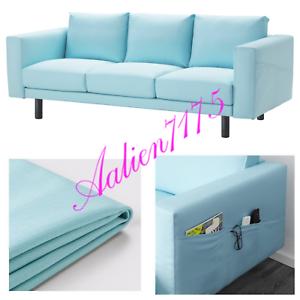 Details about IKEA NORSBORG Sofa Slipcover Cover EDUM LIGHT BLUE (Cover  Only) w/ Armrest NIB