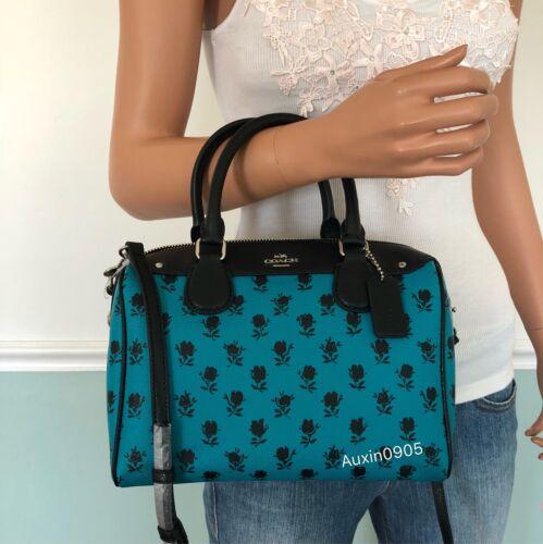 NEW COACH PVC Leather Rose Mini Satchel Shoulder Crossbody Bag Turquoise Black