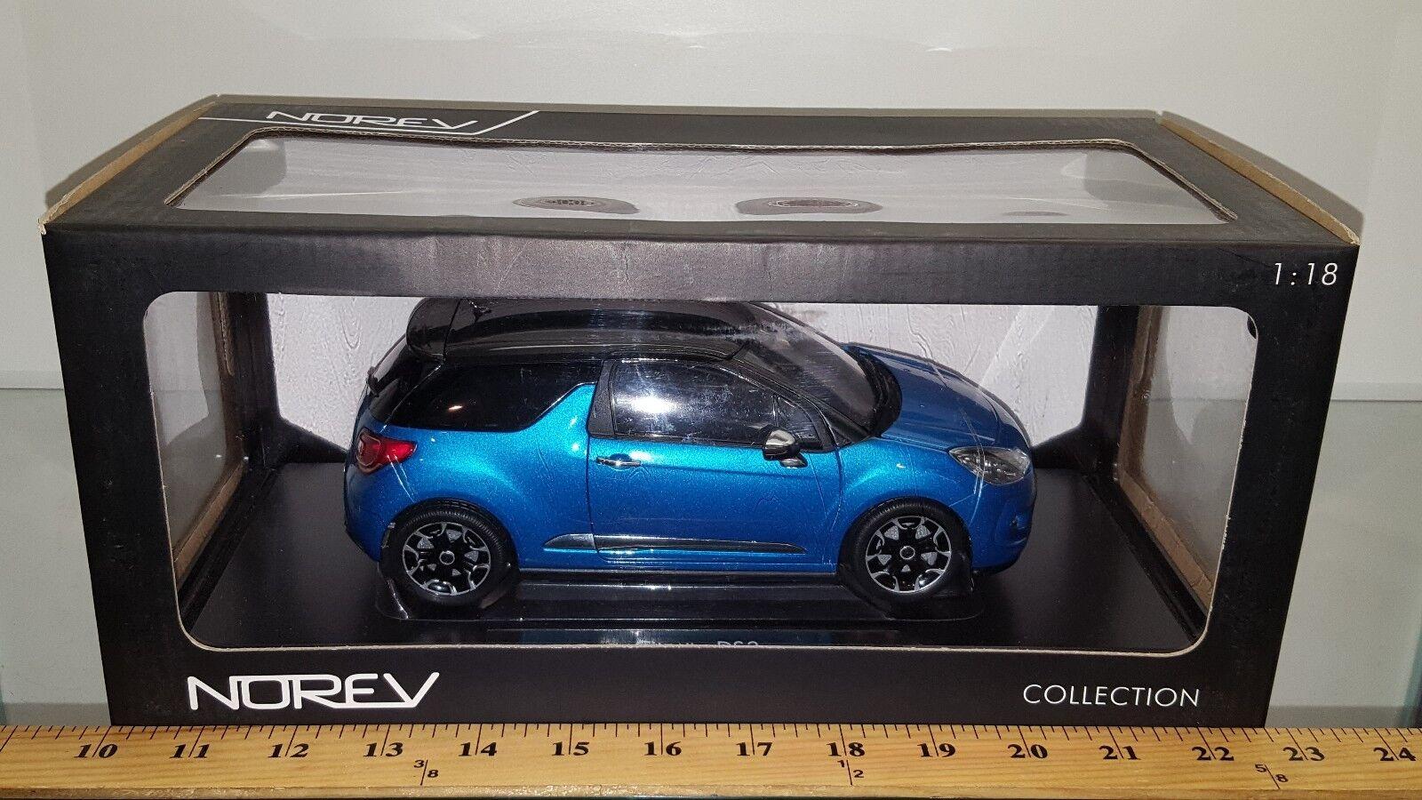 1 18 NOREV collection 2011 Citroen DS3 Belle Ile Bleu avec noir Toit BD-U