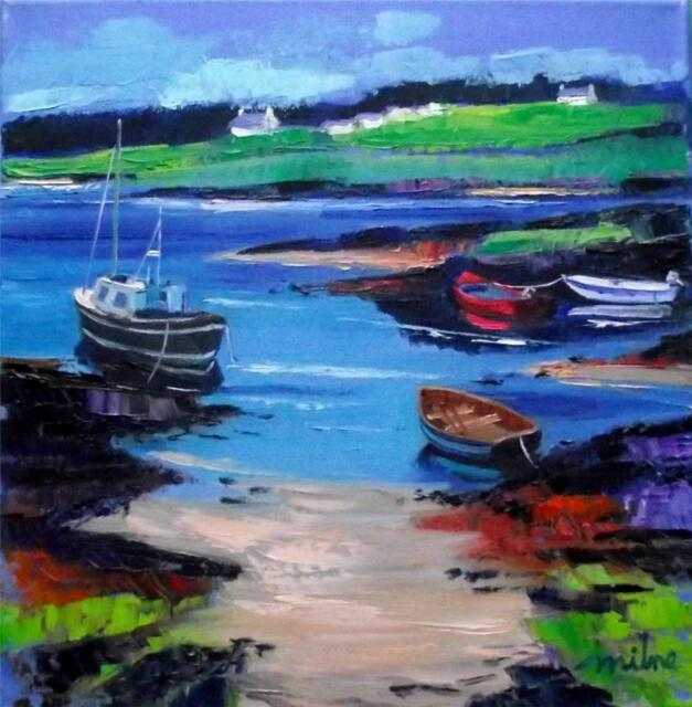 FRASER MILNE HEBRIDEAN COLOURIST IMPRESSIONIST OIL PAINTING : GIGHA MORNING