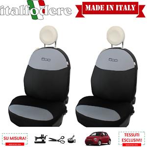 COPPIA COPRISEDILI Fiat 500 SU MISURA Fodere Foderine Solo Anteriori Grigio Nero