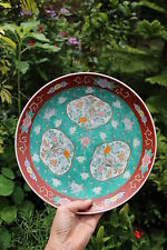 Antique Chinese porcelain hand painted plate with 3 windows, Qing Dynasty(?)