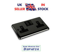 Black Nickel Double Twin Plug Socket Switched 2 Gang 13amp Round Edge DP x10
