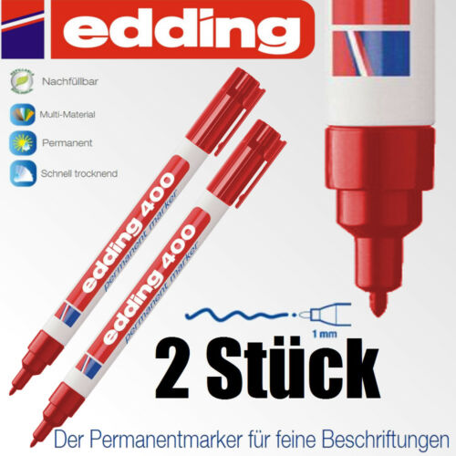 Edding 400 rot permanent Stift wasserfest 2 Stück