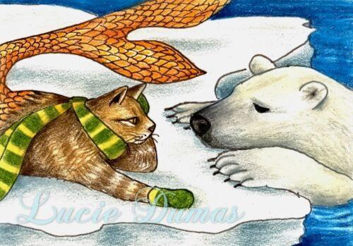 ACEO art print Cat Mermaid 11 ocean polar bear from fantasy painting by L.Dumas