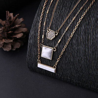 N978 Forever 21 Multi 3 Layers Marble Gemstone Fashion Collar Bridal Necklace US