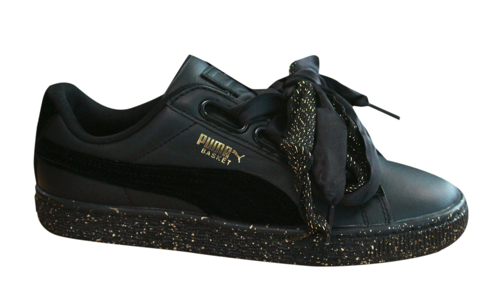 Puma Basket Heart Winterized Womens Trainers Lace Up Black Leather 366240 01 M17