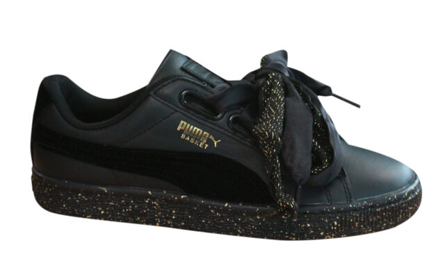 check out 8356c 0d623 Puma Basket Heart Winterized Womens Trainers Lace Up Black Leather 366240  01 M17