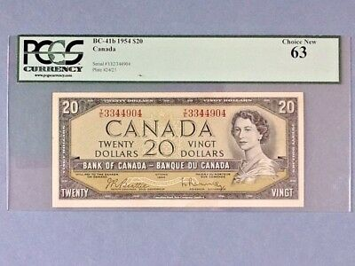 Canada Bc-41b; 20 Dollars; 1954 Beattie/ Rasminsky; Pcgs Graded 63 Careful Calculation And Strict Budgeting Paper Money: World