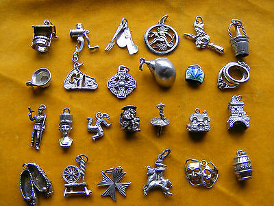 NN VARIOUS VINTAGE STERLING SILVER CHARM CUTLERY, CROSS, BELL, IOM, MASKS, WELL