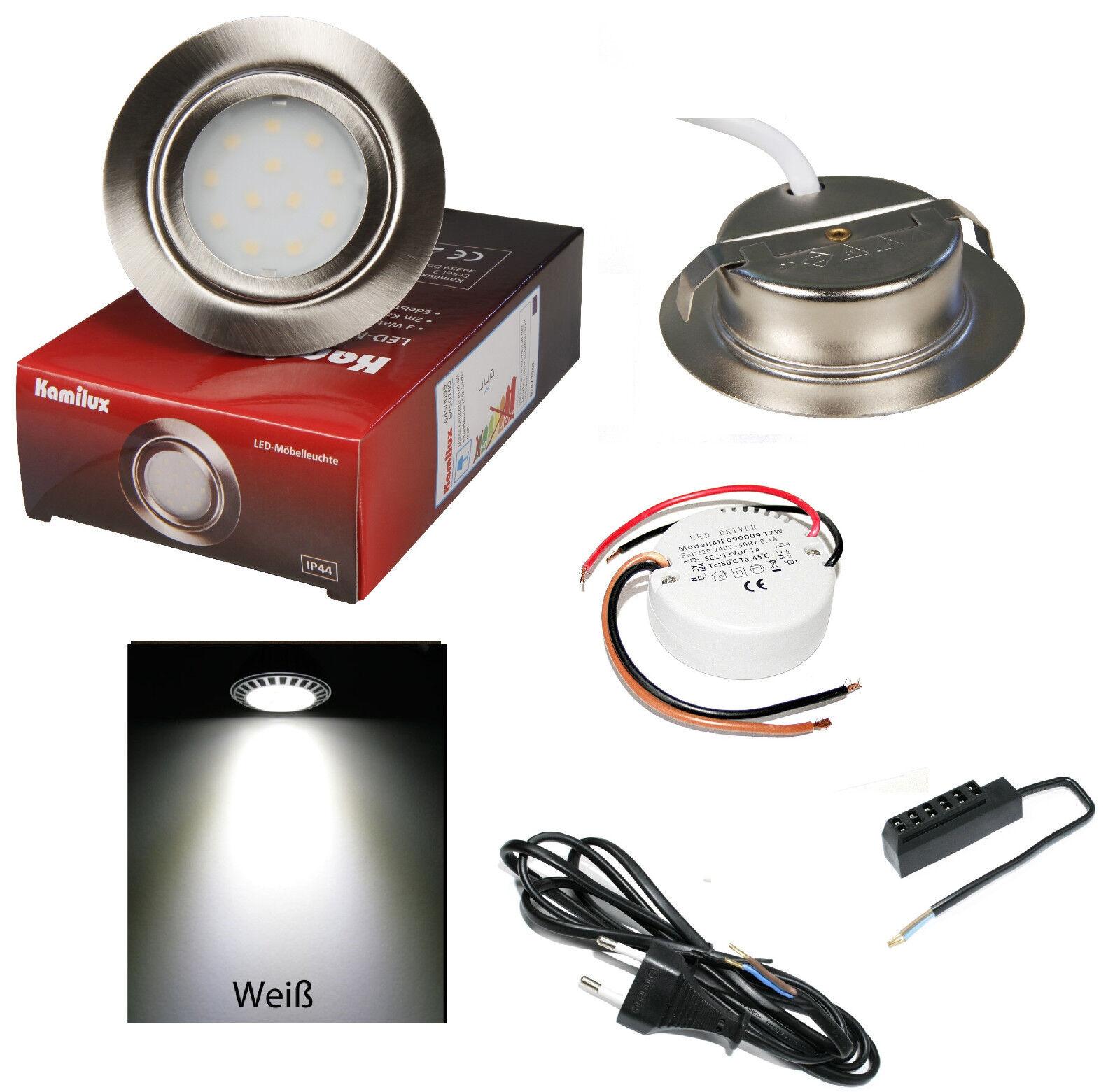 1 - 10er LED muebles instalación spot giratorio 12v MOBI 3w = 30w blancoo transformador + Amp
