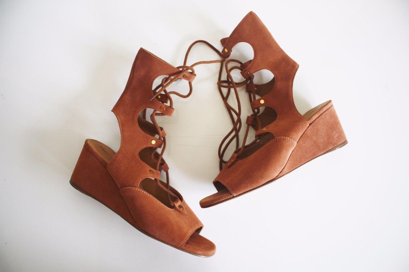 CHLOE LACE-UP SUEDE WEDGE SANDAL  1,075 Tan Tan Tan Brown SPRING RUNWAY shoes Heels 10 0f1af0